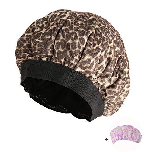 Locisne Capuchon conditionnement profond sans fil pour la chaleur des cheveux,micro-ondes pour thérapie des cheveux,capuchons traitement thermique cheveux à la rétention aux graines de lin,Léopard