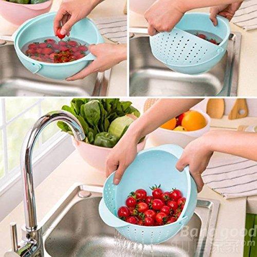 Mark8shop 2-in-1 Groenten Basin Wash Rice Sieve Fruit Bowl Fruit Basket Keuken Gadget