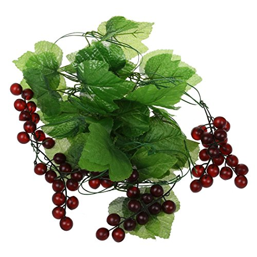 SODIAL 2x Artificial Grape Vine Garland Fruit for Home Garden Decoration