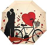 Paraguas Vintage con diseño de corazón para Bicicleta de San Valentín con 3 Pliegues y Cierre automático
