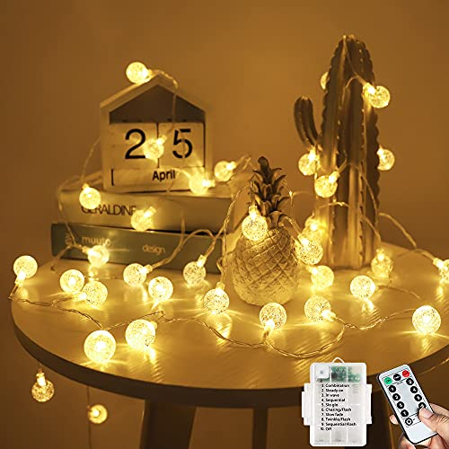 Lichterkette Batterie, 60LED 7M/23ft Gartenlichter Outdoor, mit 8 Modi Fernbedienung Lichterketten Wasserdicht, Lichterkette für Schlafzimmer, Party, Hochzeit, Weihnachtsdekoration (Warmweiß)