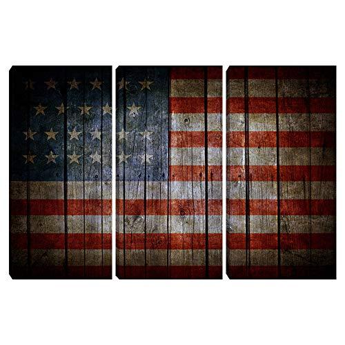 Amerikanische USA-Flagge, Wandkunst, patriotische Flagge, Leinwanddruck, 3-teilig, Gemälde, Kunstwerk, Büro, Wohnzimmer, Schlafzimmer, Zuhause, Wanddekoration, gerahmt zum Aufhängen, 61 x 91,4 cm