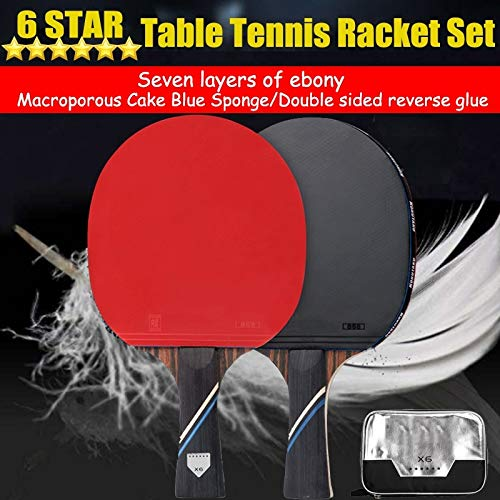 For Sale! High-Level 2Pcs 6-Star Ebony Wood Carbon Table Tennis Racket Pingpong Paddle Bat Horizonta...