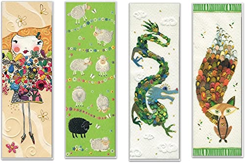 Set aus vier hochwertigen Lesezeichen, geprägtes Reliefpapier (original von Turnowsky, est. 1940): Blumen-Mädchen, Drache, Fuchs und Schafe
