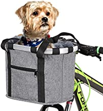 Lixada Bike Basket, Small Pet Cat Dog Carrier Bicycle Handlebar Front Basket - Folding Detachable Removable Easy Install Quick Released Picnic Shopping Bag, Max. Bearing: 22lbs (Grey-3)