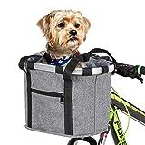 Lixada Cesta Desmontable para Bicicleta Frente para Bicicleta Soporte para Mascotas Bolsa Delantera de Lona Marco de Aleación de Aluminio Cesta para Mascotas