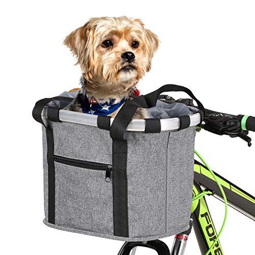 Lixada Cesta Desmontable para Bicicleta Frente para Bicicleta Soporte para Mascotas Bolsa Delantera de Lona Marco de Aleación de Aluminio Cesta para Mascotas (Gris-2)