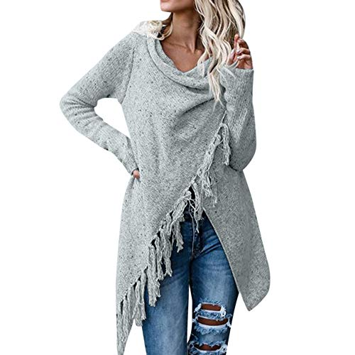 Alikeey Dames Pullover Stripes poncho herfst kwasten schuine streek Gradient sjaal Hem Fring los