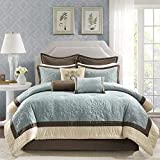 Madison Park Juliana Queen Size Bed Comforter Set Bed in A Bag - Blue, Quilted Floral – 9 Pieces Bedding Sets – Faux Silk Bedroom Comforters