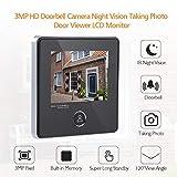 ASHATA Visor de Puerta Digital, Pantalla LCD TFT HD de 3 Pulgadas Cámara de ángulo Amplio de 3MP 120 °, con visión Nocturna por Infrarrojos para el hogar/Hotel/Villa