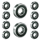 6001-2RS Rodamientos rígidos de bolas de acero inoxidable, Rodamientos de bolas radiales de una hilera, Rodamientos rígidos de bolas sellados (10 piezas)