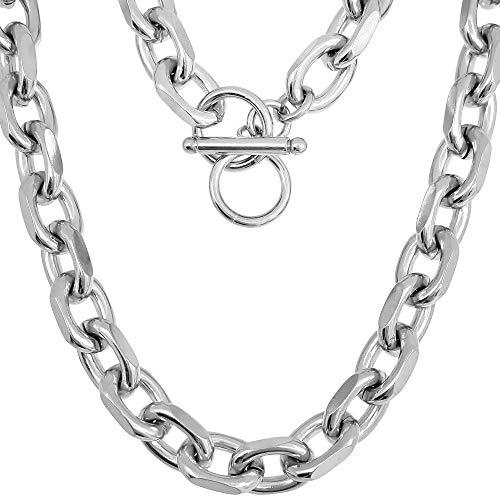 RUGGED steel Edelstahl Halskette 9 mm Gliederkette mit Knebelverschluss (45 cm)