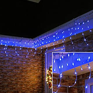 8 Modes Curtain Icicle Lights 16.4x2 Foot 150LED with Memory Function Starry Fairy Lights for Indoor Outdoor Fair Garden Patio Party Decor with Waterproof and UL Safety Standard Blue