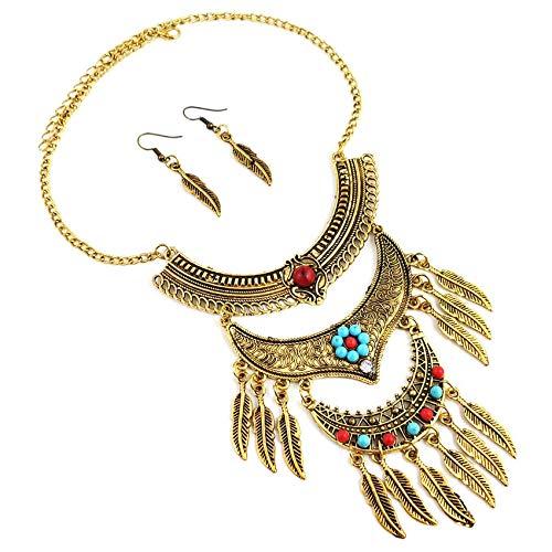 Pendientes De Collar Conjuntos Joyas,Vintage Bohemia Mujeres Indias Niñas Brillante Delicado Dorado...