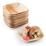 4 in Party Plates Palm Leaf Plates Biodegradable Plates [25 Plates] Bamboo-look Disposable Plates Eco Friendly Plates Heavy Duty Paper Plates Alternative Great for Appetizer Dessert or Sushi by brheez