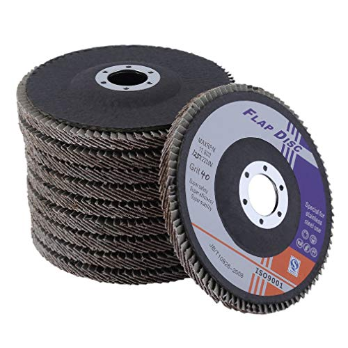ROXTAK 40 Stück Fächerscheiben Lamellenscheiben Schleifscheiben Schleifmopteller 125 mm Korn 40, 60, 80 (Körnung 40)