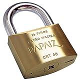 Cadeado Tetra Chave 50Mm, Papaiz 457910, Dourado