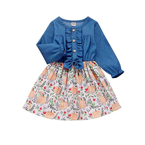Baby Toddler Girl Clothes Halloween Dress Denim Bowite Cartoon Pumpkin Print Party Dress Outfits (2-3 Years, Denim Pumpkin Splicing Dress)