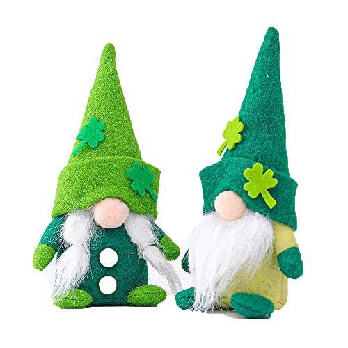 Paquete de 2 gnomos verdes para decoración del día de San Patricio – trébol iluminado lindo duende Día de San Patty 2021 decoración de fiesta de fiesta (PGnome001)