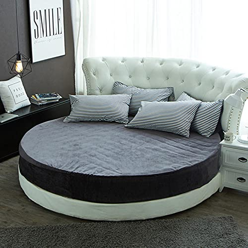 CYYyang Protector de colchón/Cubre colchón Acolchado, Ajustable y antiácaros. Falda de Cama Redonda Felpa-Gris Oscuro_1.8m