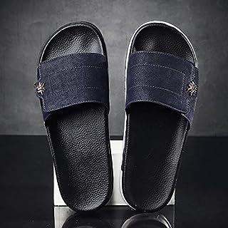 Men's indoor slippers non-slip floor flat buckle sandals summer shoe bath home slide sandals soft male (Color : Blue 2205, Shoe Size : 41)