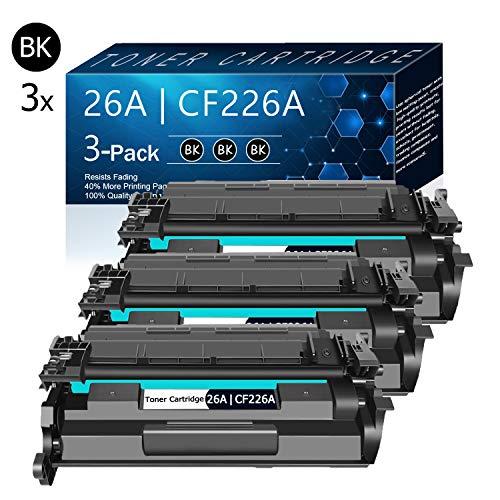 3 Pack Black 26A | CF226A Compatible Toner Cartridge Replacement for HP LaserJet Pro M402d M402n M402dn M402dw M402m M402dne Pro MFP M426dw MFP M426fdn MFP M426fdw MFP M426dw MFP M426m Printers Toner.