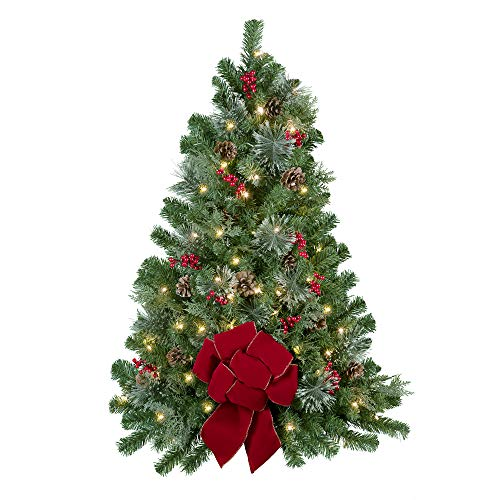 Haute Decor 3' Easy Hang Christmas Tree with Built-in Timer for Walls or Front Doors, Pre-lit with 50 Warm White LED Lights, Berries, Pinecones and a Red Bow for Indoor or Outdoor Use