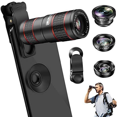 Phone Camera Lens, OYRGCIK 5 in 1 Phone Lens Kit 12X Zoom Telephoto Lens with Telescope + Fisheye...