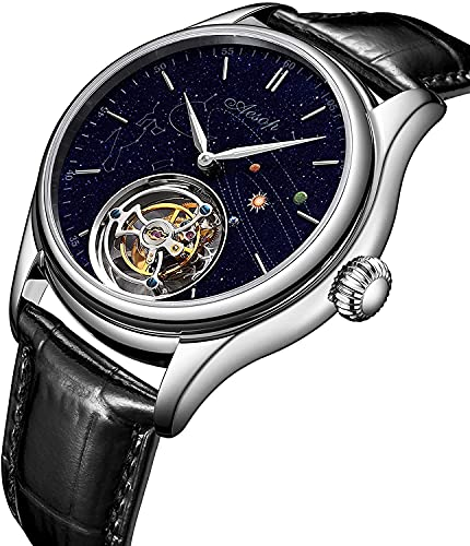 ZFAYFMA Reloj mecánico para hombre, Tourbillon Hollow reloj de acero inoxidable 100 m impermeable hombres padre hermanos masculino reloj de cuero de lujo casual vestido de plata