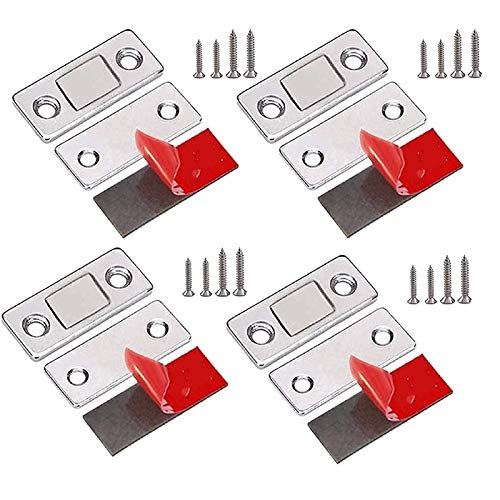 Ultra-thin Invisible Magnetic Cabinet Magnetic Door Catches for Kitchen Cupboard Latch Closure Small Wardrobe Sliding Door Close Magnetic Drawer Catches Closer Sticky 4PCS