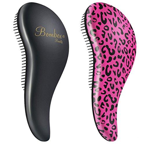 BOMBEX Detangler Brush-2 pack - No Tangles & Knots, Best Detangling Hair Brush for Tangled Hair,Pink Leopard & Matte Black