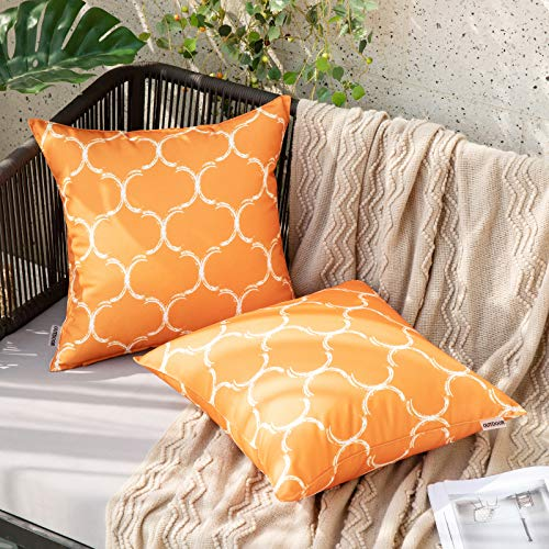 MIULEE Pack of 2 Geometric Cushion Cover Decorative Throw Pillow Cover Square Modern Pillow Case for Bed Sofa Living Room 18 x 18 Inch 45 x 45 cm Orange