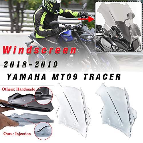 LoraBaber Für Yamaha MT-09 2018-2019 Windschutzscheibe FJ09 Parabrisas Motorrad Zubehör Tracer 900 / GT 18 19 MT09 FJ09 Zubehör (Leichter Rauch)