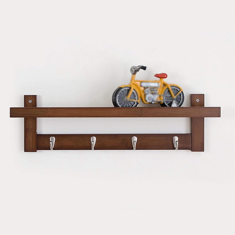 LXLA- Shelf Hangers Coat Rack Hook Up Wood Bamboo Wall-Mounted Brown, 61 74   87 × 18 × 12 cm (Size   4 Hooks)