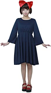 Womens Kiki's Halloween Cosplay Costume Witch Dress Dark Blue