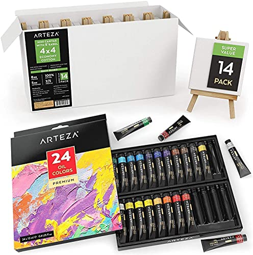 Arteza Oil Painting Bundle, 24-Color Oil Painting Set with 14-Pack of...