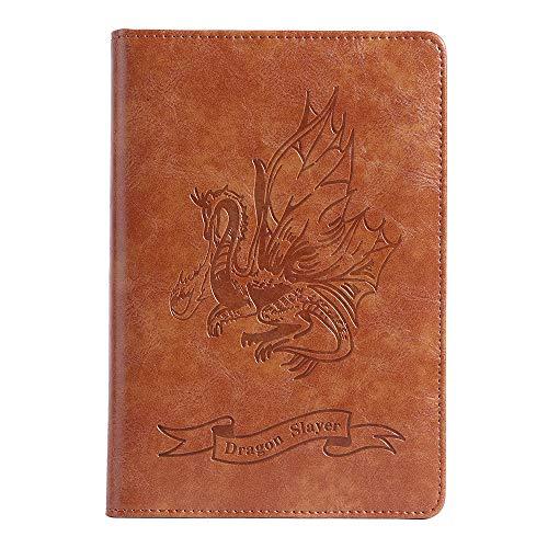Diario vintage, diario de viaje y cuaderno de escritura, diseño de dragón que respira fuego de piel sintética bloc de notas con soporte para bolígrafo, tamaño A5 (150 mm x 215 mm)