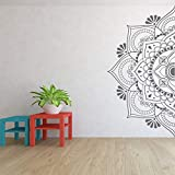 Half Mandala Wall Decal Headboard Door Window Stickers Master Bedroom Yoga Studio Home Decor Boho Style Ornament Art A5 42x85cm