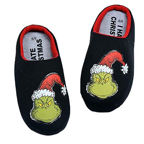 Fplkflefge How The Grinch Stole Christmas Schuhe Paar Innenrutschfeste Schuhe Warm und atmungsaktive Baumwolle Hausschuhe Freizeit Bequeme Schuhe Unisex (Color : A01, Size : EU36 US5.5)