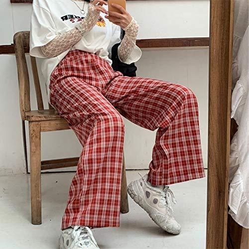 AOZLOVEC Pantalones a cuadros para mujer Pantalones de pierna ancha de primavera Pantalones a cuadros de cintura alta para mujer Pantalones XL Rojo