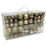 Wohaga Set de 105 Bolas de Navidad Ø3/4/6cm plástico Adornos del árbol de Navidad decoración navideña decoración para el Abeto