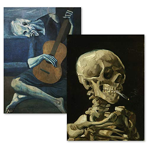 2 Pack - Van Gogh Skeleton & The Old Guitarist by Pablo Picasso Poster Print Set - Fine Art (Laminated, 18' x 24')