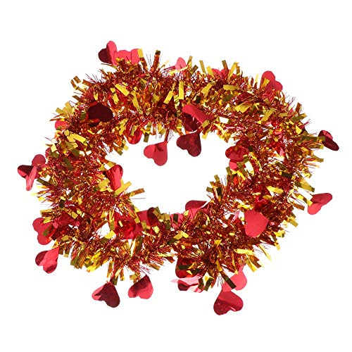 Lishuang 2M Gold Silver Wire Garland, Tinsel Hanging Rattan Christmas Tree Ornament Decoration Xmas Wedding Birthday Party Colorful Ribbon(Red)