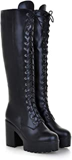 MFairy Women's Lace-up Strappy Knee High Combat Stacked Heel Boot Chunky Heel Platform Shoes