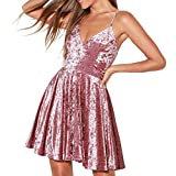 R.Vivimos Women's Crushed Velvet Spaghetti Straps Sexy V Neck Club Party Pleated Swing Skater Dress (Medium, Pink)
