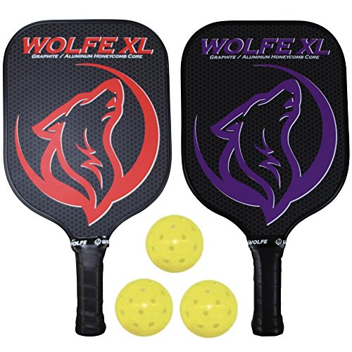 Wolfe XL Pickleball Paddle Set - Graphite and Honeycomb Composite Core - USAPA Approved for Tournament Play - Includes 3 Pickleball