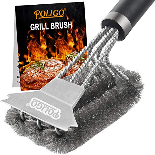 POLIGO Grill Brush and Scraper with Deluxe Handle - Safe Wire Stainless Steel BBQ Brush for Gas Infrared Charcoal Porcelain Grills - Ideal Gift BBQ Grill Cleaning Brush for Grill Wizard Grate Cleaner Barbecue Brushes Grill Grilling Utensils