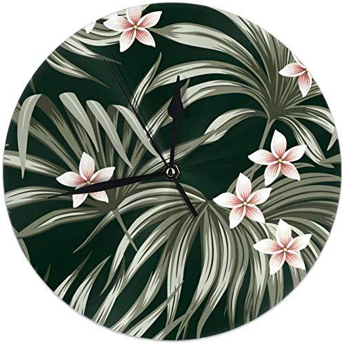 Azalea - Reloj de pared redondo con diseño de palmera floral de plumeria y flor vintage tropical, 9,84 pulgadas