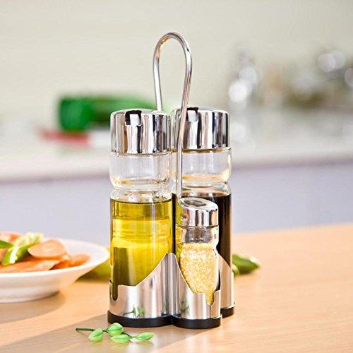 acero inoxidable tarro [castor] agitador de azúcar-sal La botella de vinagre de regalo de bote de salsa de soja aceite set cocina fuentes-A