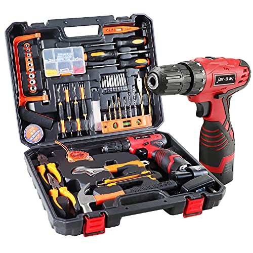 jar-owl 16.8V Tool Set with Drill, 247 In-lb Torque, 0-1300RMP Variable Speed, 10MM 3/8'' Keyless Chuck, 18+1 Clutch, 1.3Ah Li-Ion Battery & Charger for Home Tool Kit